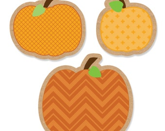 24 pc. Pumpkin Patch Shaped Paper Cut Outs - Fall or Halloween Baby Shower,  Birthday Party Die Cut Party Decoration Kit