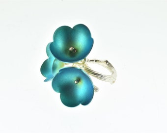 Sterling Silver Ring,Titanium Ring,Titanium Flowers,Turquoise Ring,Floral Ring,Natural Inspired,Botanical Jewelry,Spring Ring,Floral Jewelry