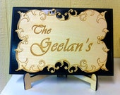 Wood sign personalized laser engraved cut out design