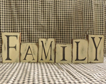 """FREE SHIPPING Distressed Country/Primtive """"Family"""" blocks for decorative use on a table, shelf, counter or desk."""
