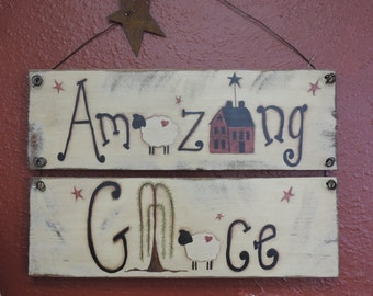Free Shipping Hand Painted Country/Primitive Distressed Amazing Grace sign, Saltbox House, Sheep, Willow Tree,  Wire Hanger with Rusty Star
