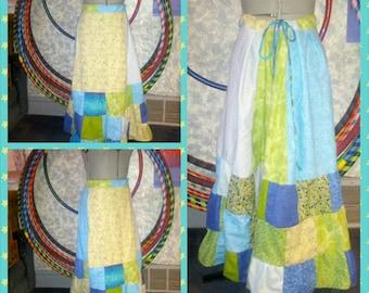 Patchwork hippie skirt festival Blue Green