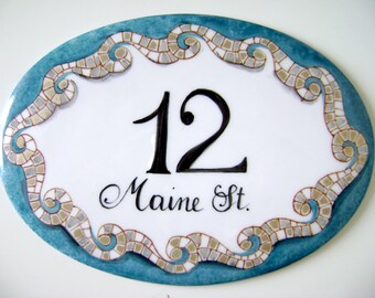Mosaic personalized Address Sign, House numbers sign, Mosaic address plaque, Street house number, Beach house decor