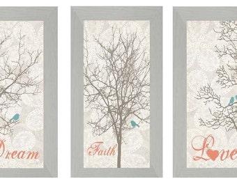 "Set 3 Love Faith and Dream Bird Trees Coral Aqua Decor Print Art Framed Picture 13x22"""