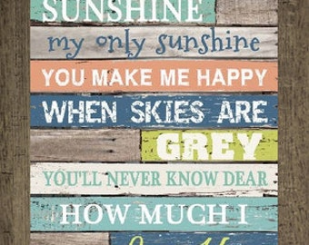 """You Are My Sunshine Light Blocking Decor Framed Picture 13x16"""""""