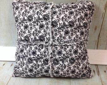 Rag Pillow-Black & White Floral