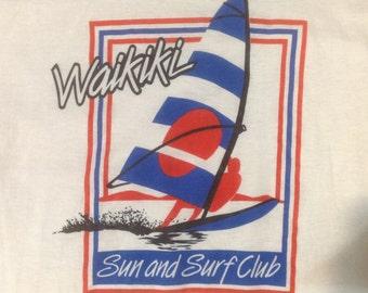 Vintage SunPacific Waikiki Surf T Shirt sz 38 in near mint condition