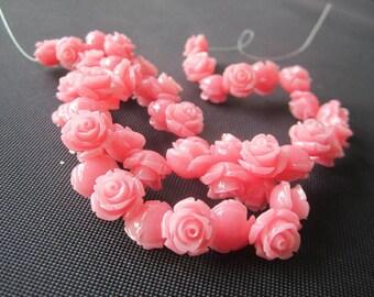 Coral Rose Flower 12mm Cabochon beads Pink  JCR1203/ 10pcs