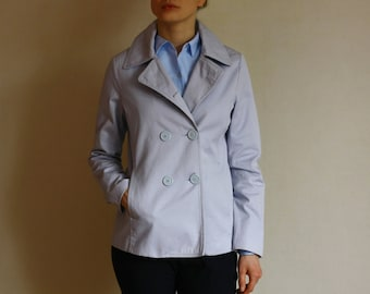 Vintage light Pale Blue Pastel Short Double Breasted Trench Coat / Jacket