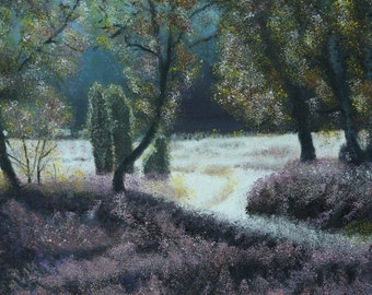 Moorland with heather Oil Painting