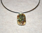 Multi-color transparent fused Glass Necklace, Fused Glass Pendant, colorful abstract necklace, choker