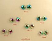 Multi-color Dichroic Glass Studs -Fused Glass Earrings - Sparkling Blue, Green, Pink and Golden