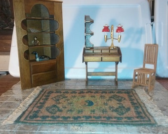 High Quality Dollhouse Furniture Office ooak set lot rare handmade desk & handmade mission style chair handmade bookcase with rug 1/12 scale