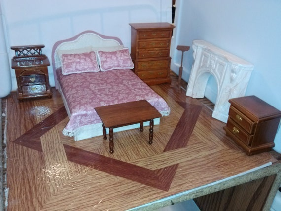 High quality dollhouse bedroom set lot hand dressed made toile for High quality bedroom furniture