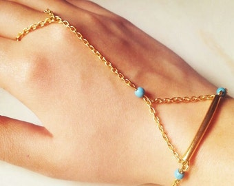 slave bracelet, hand chain, gold plated chain, turquoise, ring chain bracelet , christmas  day gift
