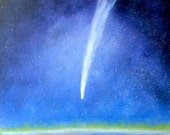 Shooting star streaking across the sky viewed from space with the earth below.