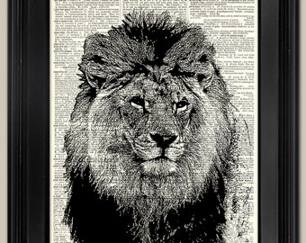 "Lion Face ink art print. Upcycled vintage book page art print. Print on book page.   Fits 8""x10"" frame."