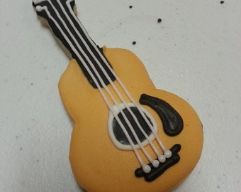 1 Dozen Custom Guitar Sugar Cookie Cut outs , Music theme