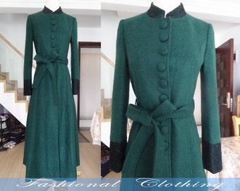 green black wool coat winter autumn coat warm coat women clothing women coat long coat jacket outerweoar long dress wool coat