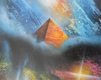 Pyramid in the stars, original spray paint art
