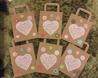 Homemade Personalised Pretty Vintage Hen Party Bags or Birthday Party Bags -  0.95p postage for any amount of bags!