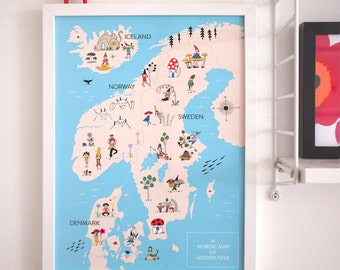 Scandinavia and Iceland Map of Gnomes / Print