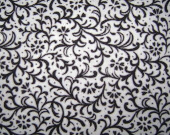 Fabric by the 1/4 Yard -  Scroll Black on White Cotton
