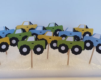 12 Monster Truck Party Picks / Monster Truck Cupcake Toppers / Truck Cake Decorations / 4 x 4 Cupcake Toppers / 4 x 4 Party Picks ANY COLORS