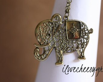 ABUNDANCE~  Vintage Style Filigree Elephant Pendant and Chain with Antiqued Bronzed/ Brass Long Necklace Statement Jewelry ilovecheesygrits