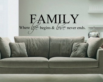 FAMILY Where life begins and love never ends - Vinyl Wall Quote