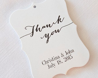 Thank You Wedding Tags, Thank You Tags, Customized Wedding Tags, Custom Wedding Favor Tags (EC-9)