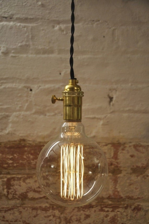 Unfinished Brass Turn Knob Pendant Light Fixture By Wiresnjars