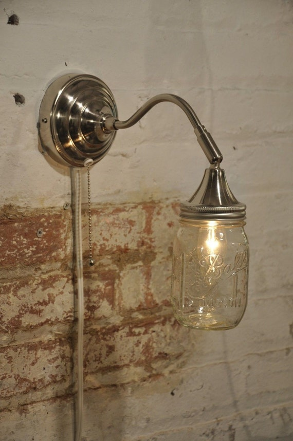 Mason Jar Wall Sconce Nickel Plated Light Lamp by wiresNjars
