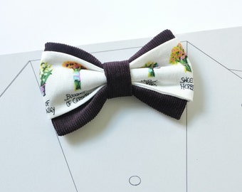 White bow tie Aubergine bow tie Eggplant bow tie Men's bow tie Bow tie for men Flowers bow tie Back to school Groom bow tie Wedding bow tie