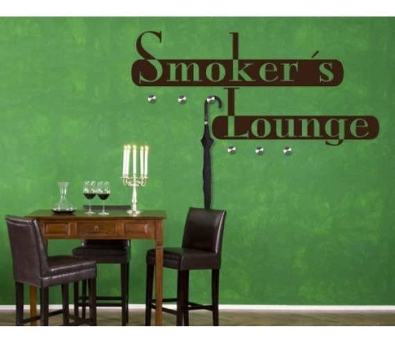 Smoker 39 s lounge hanger wall decal sticker mural vinyl for Ceiling mural in a smoker s lounge