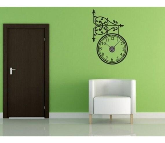 Trainstation wall decal clock sticker mural vinyl wall art for Clock wall mural