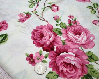 """Last - 1 yard country pink rose blooms on ivory 100% cotton fabric (63"""" Wide)"""