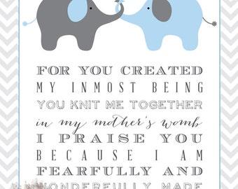 Elephant Scripture Children's Wall Art, Boy or Girl, Psalm 139: 13-14