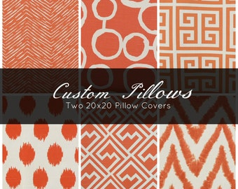 Two 20x20 Pillow Covers - Decorative Pillow - Throw Pillow - Orange Pillow - Geometric Pillow - Ikat Pillow - Chevron Pillow