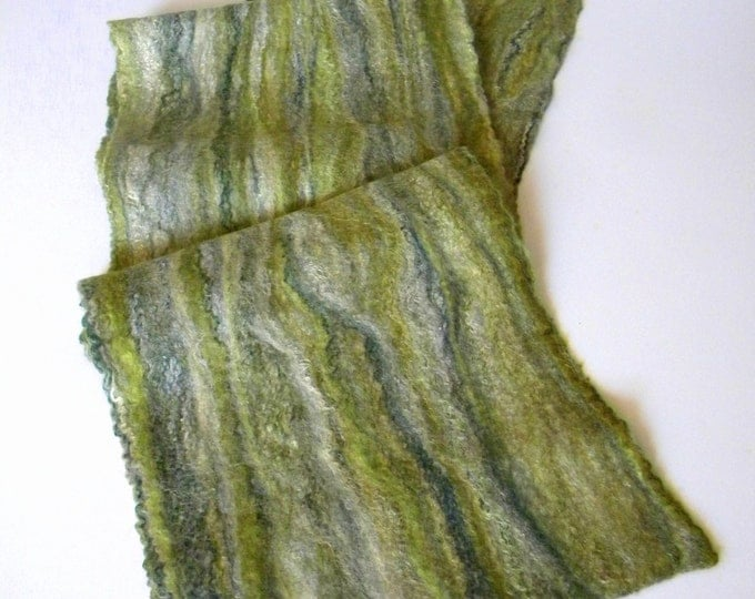 Winter Scarves Felted wool scarf Scotland scarf Handmade green long scarf merino wool scarves gift for coworker eco friendly gift for dad