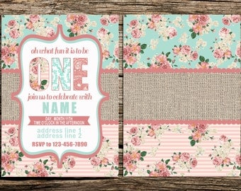Digital File for Vintage Floral Shabby Chic Baby's first birthday invitation (ask me about prints)