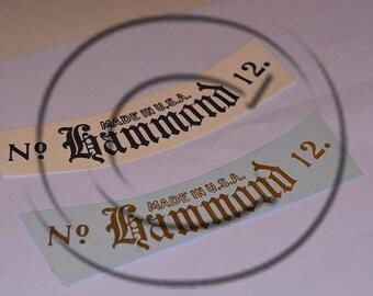 Hammond  Typewriter Water Slide Decal