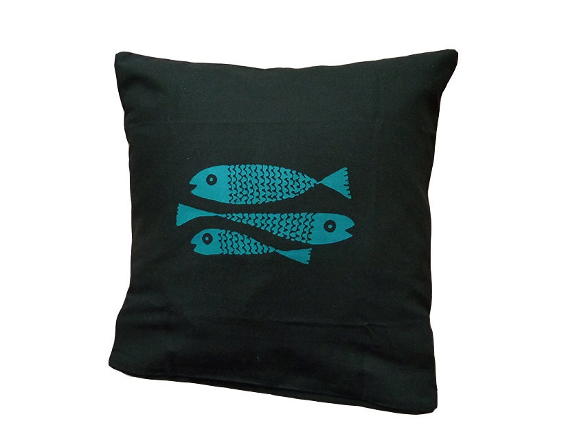 envelope back pillow cover 36x36cm fishes 87198
