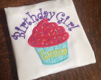 Personalized Birthday Girl Cupcake appliqué Embroidered Shirt/Bodysuit FREE SHIPPING