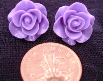 Large Purple Rose Studs