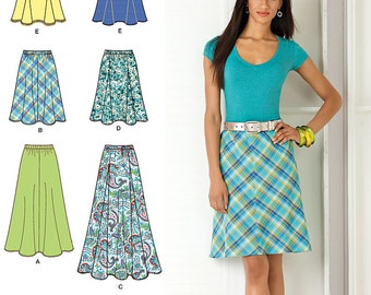 Simplicity Pattern 2184 Misses' Bias Skirt in Two Lengths and Gored Skirt in Three Lengths