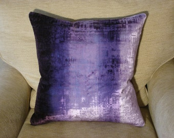 Designers Guild Fabric Cushion Cover in Phipps Aubergine with an Aubergine Linen Backing