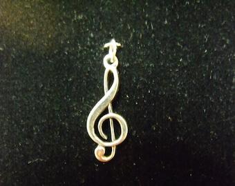 Sterling Silver Treble Clef Charm/Pendant  - .925  1.3 grams