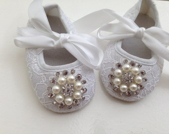 White baby girl crib shoes- Christening, baptism ,lace baby shoes- Newborn white rhinestone shoes