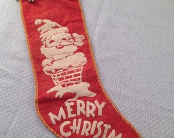 Vintage 50's Flannel Stocking With Mica Glitter